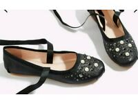 Brand new Topshop kisses ballet style shoes Black real leather with pearl detailing