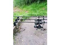 3 rods and reel carp set up