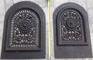 Antique / vintage, ornate cast iron domed grates, wall mount