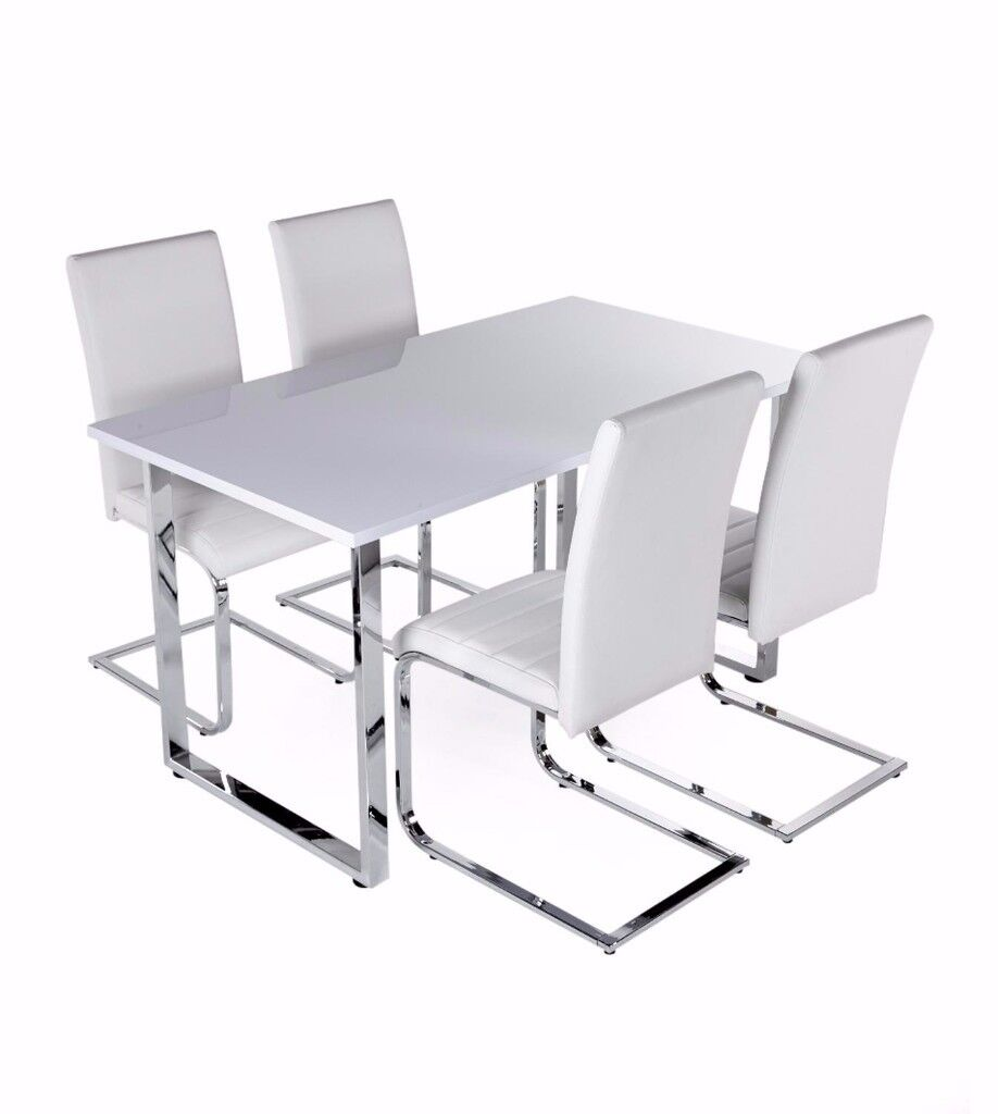 Ex Display Milan Gloss Dining Set 4 White Faux Leather  : 86 from www.gumtree.com size 918 x 1024 jpeg 41kB