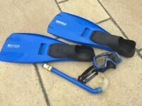 Flippers, Snorkel and Face Mask.