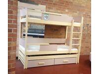 Bunk Bed QUATRO, Wood Frame, Three Kids High Sleeper, Children Bedroom Furniture, SUPERFAST DELIVERY