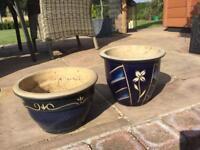 Two blue medium plant pots