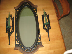 Large Antique mirror and candle holders for sale