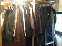 Lot of men's and women's jackets and coats, suits