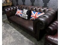 Beautiful Chesterfield 3 Seater Sofa Brown Leather Low Back - UK Delivery