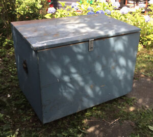 Big wooden box with hinges, lock hasp, wheels and handles