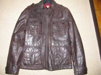 HUGO BOSS ORANGE - MENS LEATHER BROWN JACKET EXCELLENT CONDITION SIZE 52