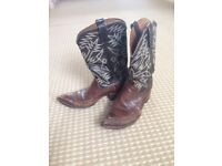 Brown Leather Cowboy Boots (Size 9)