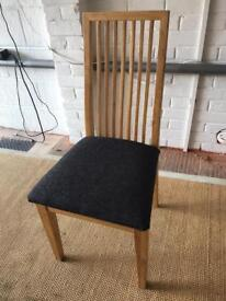 6 slat backed chairs - solid wood, fabric seat