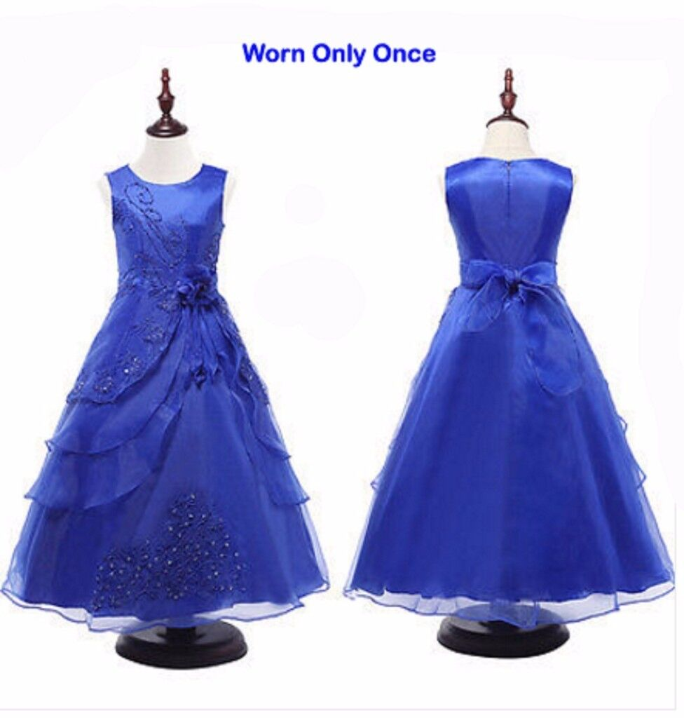 Bright Blue Age 11-12 Kids Girls Bridesmaid Pageant Party Prom ...