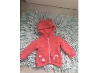 Baby girls cosy coat fleece inside 9-12 months
