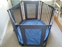 Lindam Folding Playpen + Safety Gate with Fabric Panels blue