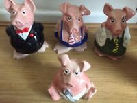 SET OF ORIGINAL WADE NATWEST PIGS WITH ORIGINAL STOPPERS