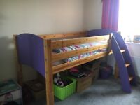 Solid Pine Mid-sleeper Bed - single pine and lilac bed. Used condition, sturdy and good quality.