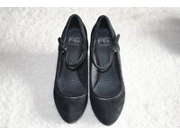 Black Suede Wedge Heel Shoes - PRICE REDUCED.