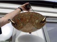 Marbled glass bowl pendant lights - pair. Brass fittings. Single bulb.