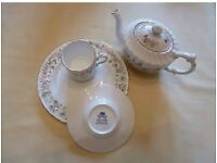 Ansley - Fine Bone China Cup/Saucer/Plate & Tea Pot