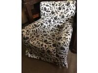 Ikea black & white floral armchair