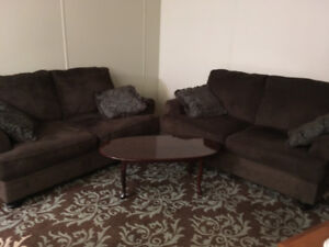 Couch/Love seats & area rug + tv cabinet