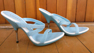 Light blue glitter high heels sandals shoes LIKE NEW