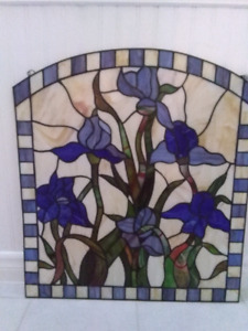 Iris stained glass wall or window hanger.