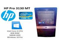 HP Pro 3130 MT Desktop PC - Intel Core i3 - 4GB RAM - 500GB HDD - Windows 10 Pro