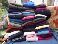 JOB-LOT OF 50 FLEECE TOPS AND ZIP-UPS MOSTLY ADULTS A LOT OF MENS A FEW LADIES JUMPERS AND ZIP UP