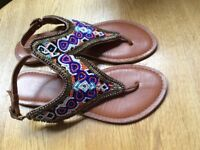 Beauitiful beaded design sandals in VGUC size 6 UK