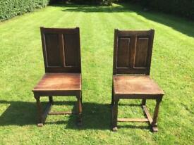 2 solid oak high back church chairs, shabby