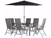 Malibu 6 Seater Black Glass / Steel Garden Table (table only) set cost us over £400