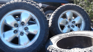 Set of tires and rims from a Dodge pickup