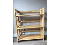 3-Tier Folding Shelving Unit, 86 x 70 x 30 cm - Rubberwood