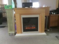 Unused Ex-Display Stanton Oak Veneer Fireplace with Electric Fire