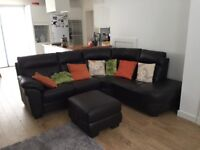 Dark Brown Leather DFS Iona Corner (Left Hand Side) Side And Matching Footstool With Storage.