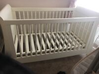 Mamas and papas white orchid sleigh cot bed
