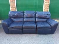 Three piece genuine leather sofa set