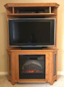 Solid Oak Corner Media unit with Electric Fireplace wt. remote