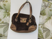 clarks suede and gold material handbag
