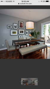 Room and Board - Walnut Portica table and bench, 4 Ansel chairs