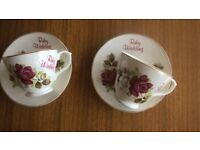 Ruby Wedding celebration tea cup and saucer X2