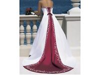 Unworn claret & ivory Alfred Angelo wedding dress, with beading detail on the front size 10.