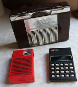 Old Bakelite Tube Radio, Kmart transistor radio, Old Calculator