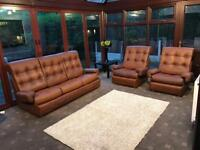 Collins & Hayes 1970s Vintage 3 Piece Brown Leather Sofa Suite Great Condition