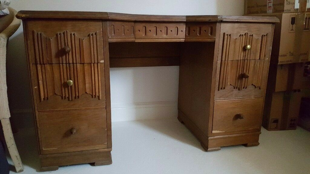 Rare Edwardian Antique Vintage Oak Childs Writing Desk Dressing Table Dresser