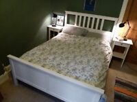 FANTASTIC & IMMACULATE - Hemnes (Ikea) Bed frame + Side Tables + Forsa lamps - together/separately