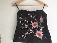 Black satin strapless top - size 10 Debenhams