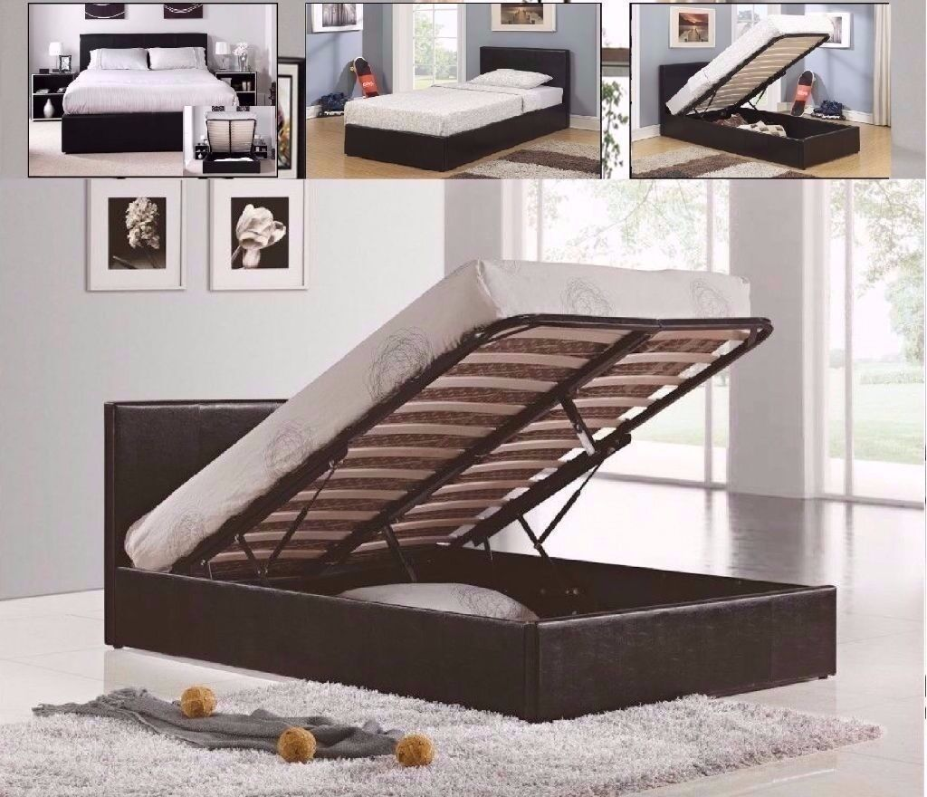 **SALE** KING SIZE LEATHER STORAGE OTTOMAN BED FRAME