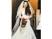 Designer wedding dress and veil