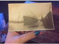 RARE REAL PHOTOGRAPH POSTCARD SS TITANIC LEAVING SOUTHAMPTON (MAIDEN VOYAGE)